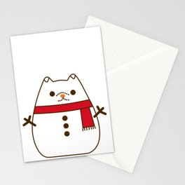 Cute Christmas Snowman Pupsheen Stationery Cards