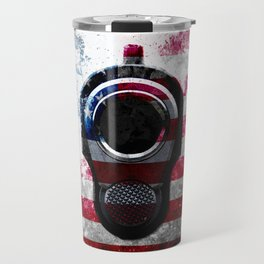 M1911 Colt 45 and American Flag on Distressed Metal Travel Mug