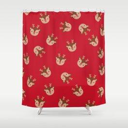 Red Rudolf Reindeer Shower Curtain