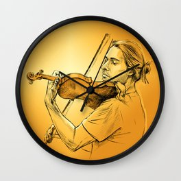 Violinist plays music - colour version Wall Clock