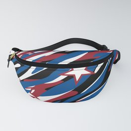 Patriotic Camouflage Red White and Blue with Stars American Pride Abstract Pattern Fanny Pack