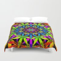 cannabis Duvet Covers featuring Stoners' Mandala Cannabis Leaf Art Digital Illustration by The Weed Art Lady
