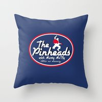 marty mcfly Throw Pillows featuring The Pinheads with Marty McFly by CarloJ1956