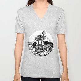The Garden - Ink Drawing Unisex V-Neck