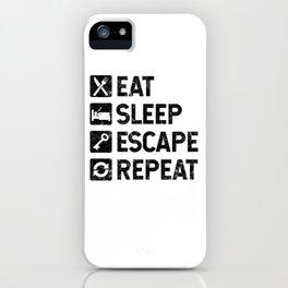 Eat Sleep Escape Repeat - Escape Room Game - Distressed design iPhone Case