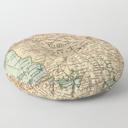 Vintage and Retro Map of India Floor Pillow