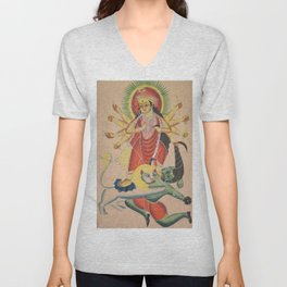 Durga Killing the Demon Mahisha - 19th Century Classical Hindu Art Unisex V-Neck