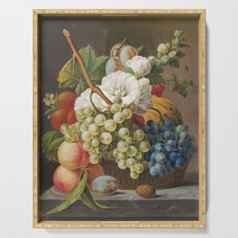 Stilleven met bloemen en fruit in een mandje (ca 1791) in high resolution by Anthony Oberman Serving Tray