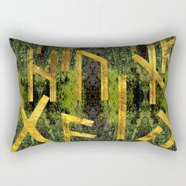 Vintage Gold Runic alphabet on tree bark Rectangular Pillow