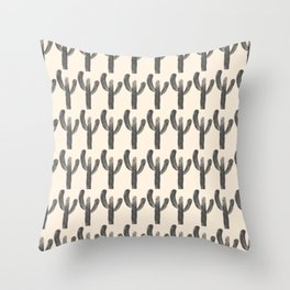 Multi Cactus Pattern 1 in Charcoal and Almond Cream Throw Pillow