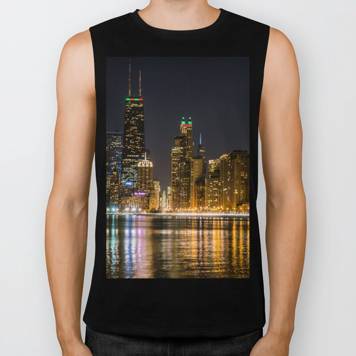 Chicago North Shore Skyline Night Biker Tank