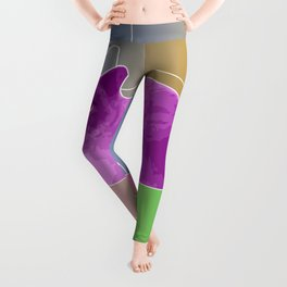 Neon Purple Cat on Colorful Background Leggings