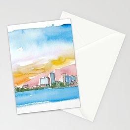 Little Rock Arkansas USA Skyline Impressionistic View. Stationery Cards