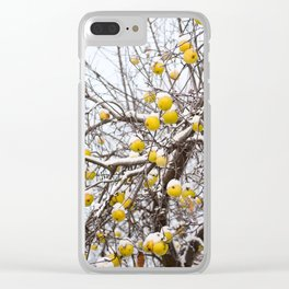 apples sag on tree in snow Clear iPhone Case