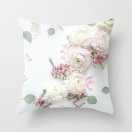 SPRING FLOWERS WHITE & PINK Throw Pillow