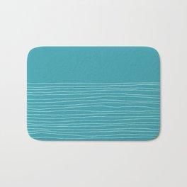 Hand Striped Turquoise White Bath Mat