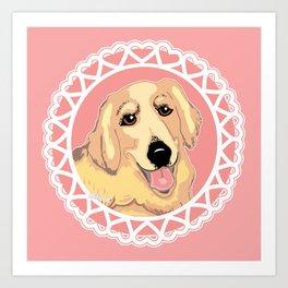 Golden Retriever Love Art Print