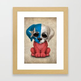 Cute Puppy Dog with flag of Chile Framed Art Print