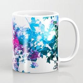 Hot Pink Blue Bokeh Flowers Coffee Mug
