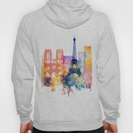 Paris Watercolor skyline Hoody