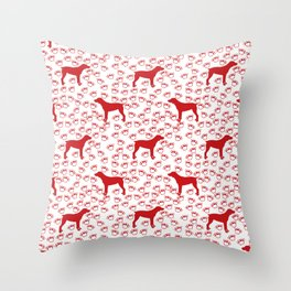 Big Red Dog and Paw Prints Throw Pillow