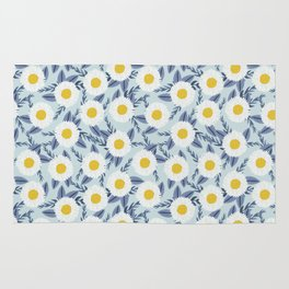 daisy flower white blue navy gold watercolor painting bohemian gardener gift unique floral pattern Rug