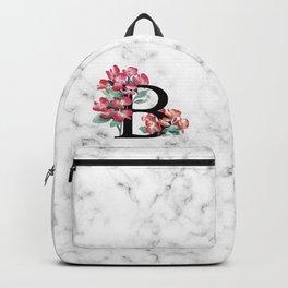 Letter 'B' Begonia Flower Monogram Typography Backpack