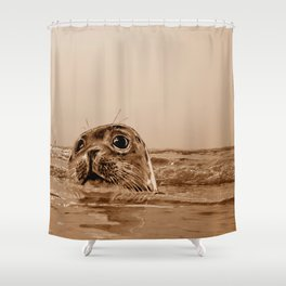 The SEAL - sepia 17 Shower Curtain
