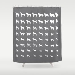 All Dogs (Grey/White) Shower Curtain