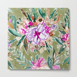 LUSH LIFE Colorful Tropical Watercolor Floral Metal Print