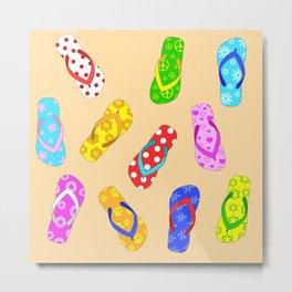 Flip Flops Pattern Metal Print
