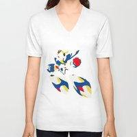 megaman V-neck T-shirts featuring Megaman X by JHTY