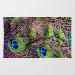 art nouveau bohemian turquoise purple teal green peacock feather Rug