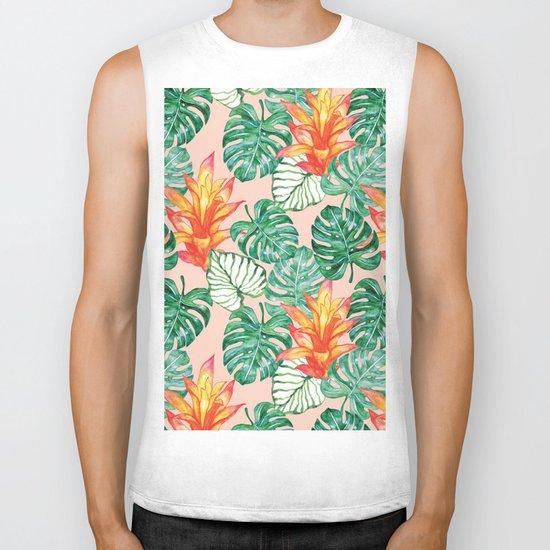 Peach tropical floral Biker Tank