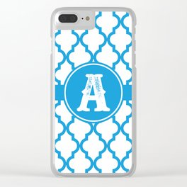 Blue Monogram: Letter A Clear iPhone Case