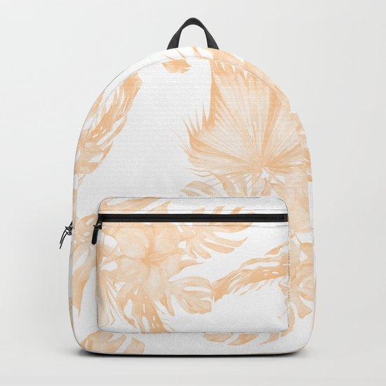 Island Vacation Hibiscus Palm Coral Apricot Orange Backpack
