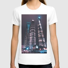Asian Skyscrapers / Neon City Lights Travel Photography T-shirt