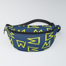 Abstract geometrical neon yellow navy blue tribal Fanny Pack