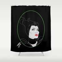 maleficent Shower Curtains featuring Maleficent by Natasha Sines