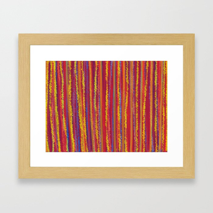 Stripes  - Cheerful yellow orange red and blue Framed Art Print