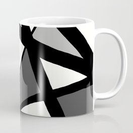 Geometric Line Abstract - Black Gray White Coffee Mug