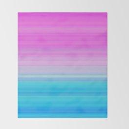 Pink & Aquamarine Blue Stripes Throw Blanket