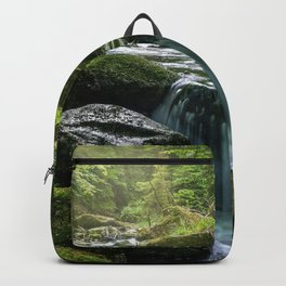 Flowing Creek, Green Mossy Rocks, Forest Nature Photography Rucksack