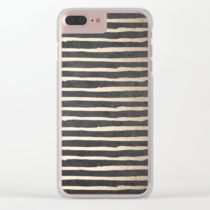 White Gold Sands Thin Stripes on Black Clear iPhone Case