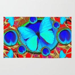 Red Fantasy Turquoise Butterflies Peacock Pattern Eyes Art Rug