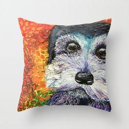 Schnauzer in Inks Throw Pillow