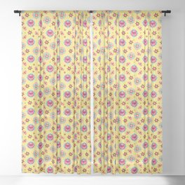 Butterfly And Flower Medallions - Bumblebee Yellow Color Sheer Curtain