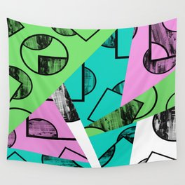 Broken Pieces - Pastel coloured, geometric, textured abstract Wall Tapestry