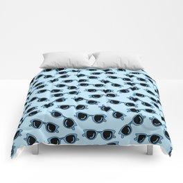 blue sunglasses, summer print Comforters