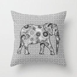 Fractal Swirl Elephant, Grey, Black and White Throw Pillow